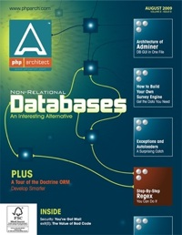 The cover of php|architect's August 09 issue