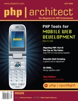The cover of php|architect's July 08 issue